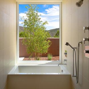 Example of a trendy beige tile bathroom design in Albuquerque