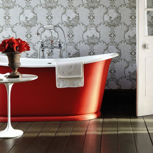 Contemporary Style Bathroom with Decorative Wallpaper