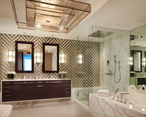 Bathroom contemporary bathroom idea in miami with flat panel cabinets and dark wood cabinets