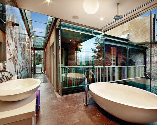 Contemporary Freestanding Bathtub Idea In Salt Lake City With A Vessel Sink