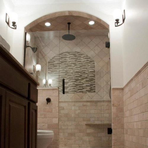 Midcentury Stone Grotto Shower Double Shower Design Ideas