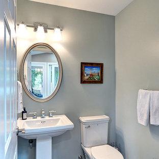 Idee per una piccola stanza da bagno con doccia classica con WC a due pezzi, pareti blu, pavimento in legno massello medio e lavabo a colonna