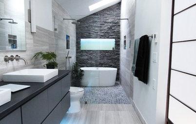 une salle de bains aux murs de verre pour ou contre. Black Bedroom Furniture Sets. Home Design Ideas