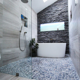 Inspiration for a mid-sized contemporary master gray tile and stone tile limestone floor bathroom remodel in Atlanta