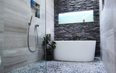 Inside Houzz: A Chopped-Up Bathroom Goes Streamlined and Swank