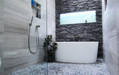 Inside Houzz: A Chopped-Up Bathroom Goes Streamlined and Swank