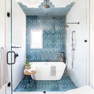 Inspiration for a contemporary blue tile and white tile blue floor bathroom remodel in Salt Lake City with white walls and a hinged shower door