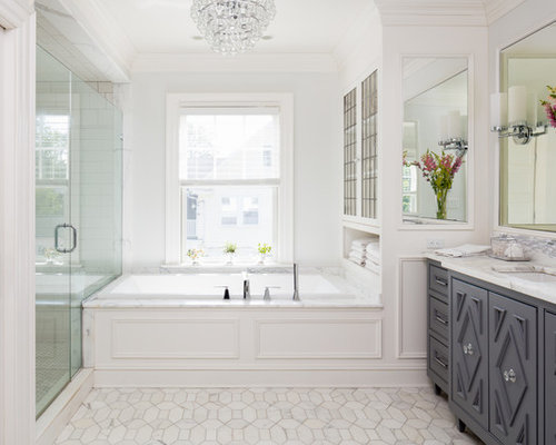 Inspiration for a transitional master white tile white floor bathroom remodel in new york with recessed
