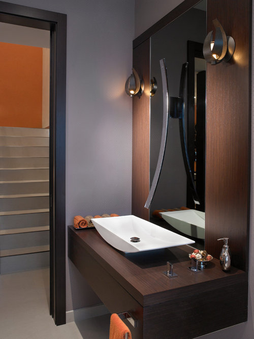 Inspiration for a mid-sized contemporary bathroom remodel in Miami with a  vessel sink,