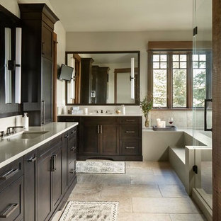 Rustic Bathroom In Other With Shaker Cabinets Dark Wood A Corner Bath
