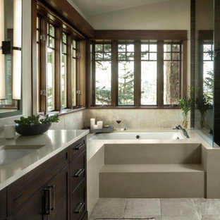 Design ideas for a small country master bathroom in Denver with dark wood cabinets, beige walls, beige benchtops, shaker cabinets, an undermount tub, beige tile, an undermount sink, grey floor, a single vanity, vaulted and a built-in vanity.