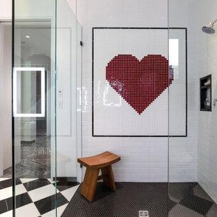 На фото: главная ванная комната среднего размера в современном стиле с угловым душем, черной плиткой, красной плиткой, белой плиткой, плиткой кабанчик и черным полом