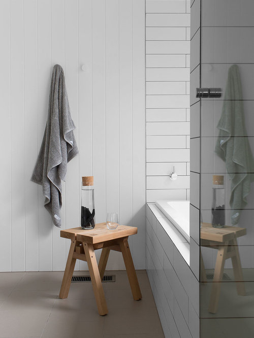 Inspiration For A Country Bathroom In Melbourne With A Drop In Tub, White  Tile