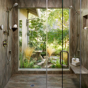 Inspiration for a contemporary double shower remodel in Sacramento