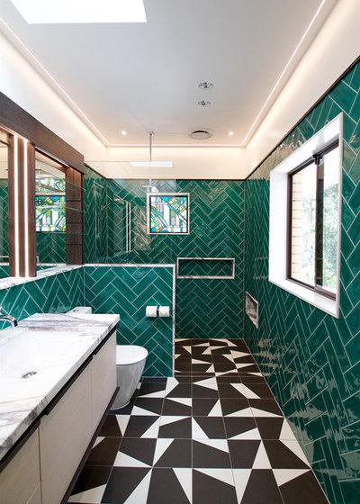 16 idee per rivestire il bagno con piastrelle verde smeraldo for Maioliche bagno