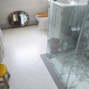 Example of a small trendy white tile cork floor bathroom design in New York