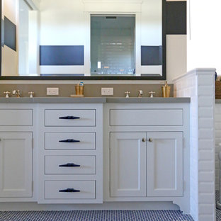 Inspiration for a mid-sized coastal blue tile and mosaic tile mosaic tile floor bathroom remodel in San Diego with shaker cabinets, white cabinets, marble countertops, a two-piece toilet, an undermount sink and white walls