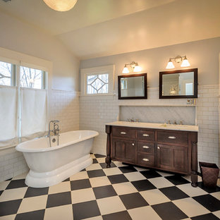 Bathroom - large craftsman master white tile and subway tile multicolored floor bathroom idea in San Francisco with an undermount sink, furniture-like cabinets, dark wood cabinets, gray walls and marble countertops
