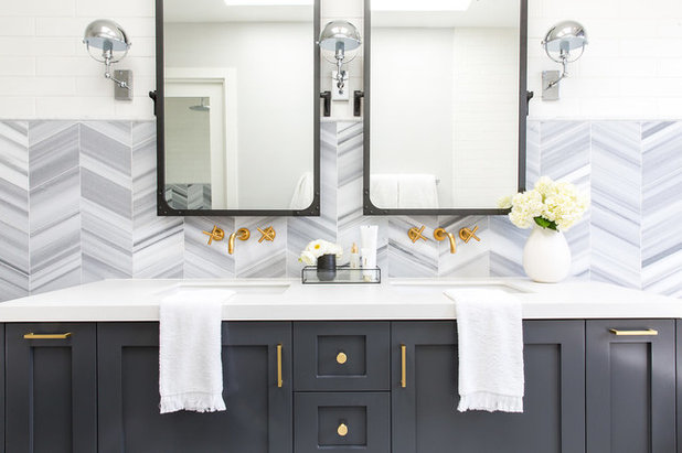 Fancy Farmhouse Bathroom by Lindye Galloway Interiors