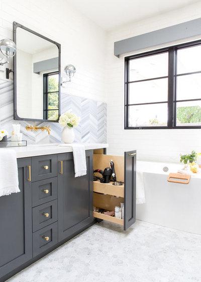 Farmhouse Bathroom by Lindye Galloway Interiors