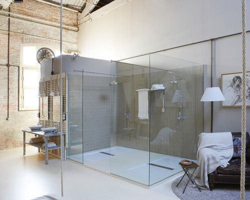 Design ideas for a large industrial shower room in Barcelona with open  cabinets, a double