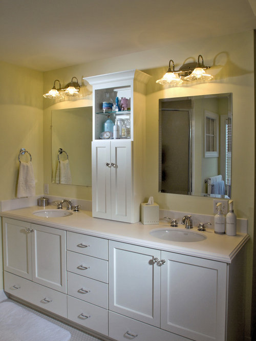 Double vanity towers houzz for Bathroom vanity designs