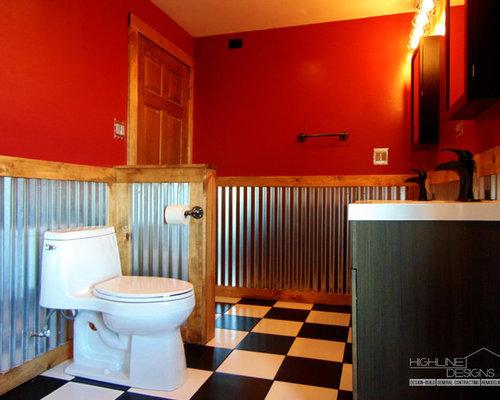 duschbäder mit schwarz-weißen fliesen und roten wänden ideen, Hause ideen