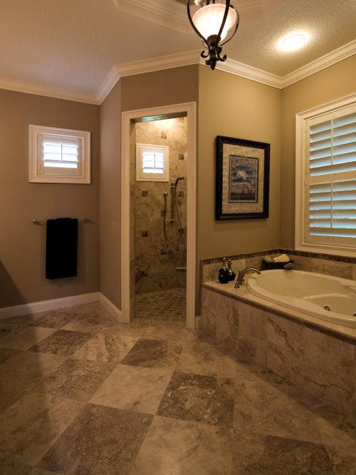 Corner doorless shower houzz for Corner bath design ideas