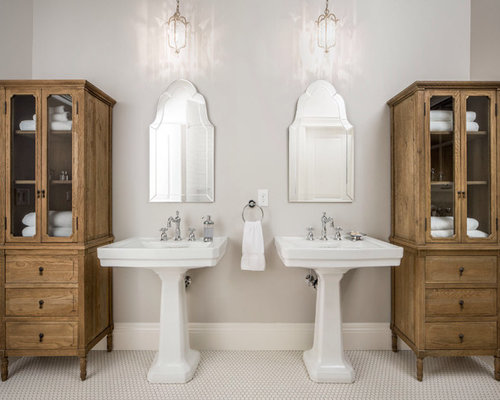 Example Of A Classic White Tile Bathroom Design In Salt Lake City With A Pedestal  Sink