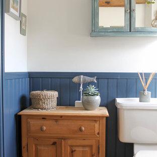 Удачное сочетание для дизайна помещения: маленькая детская ванная комната в стиле кантри с отдельно стоящей ванной, раздельным унитазом, синими стенами, полом из ламината, раковиной с пьедесталом и серым полом - самое интересное для вас