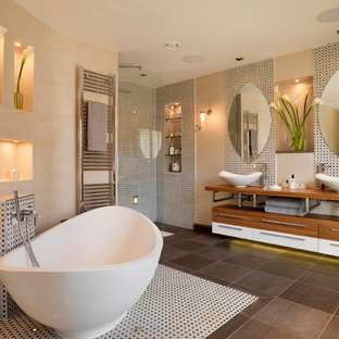 Large trendy master multicolored tile and mosaic tile bathroom photo in London