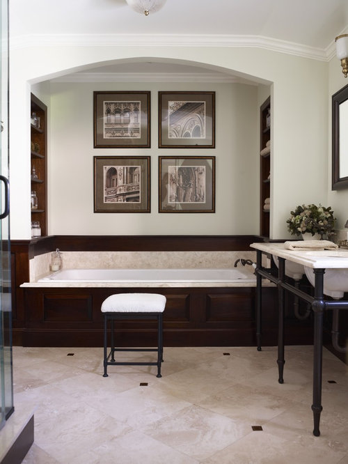 Inspiration for a timeless bathroom remodel in New York with a console ...