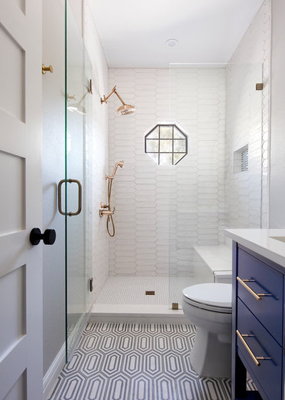 Transitional Bathroom by Etch Design Group