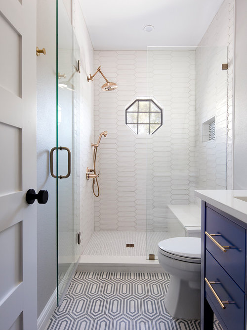inspiration for a small transitional 34 white tile and porcelain tile multicolored floor and - Best Bathroom Interior Design