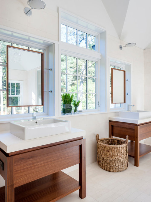 Example Of A Trendy Bathroom Design In Boston With Vessel Sink