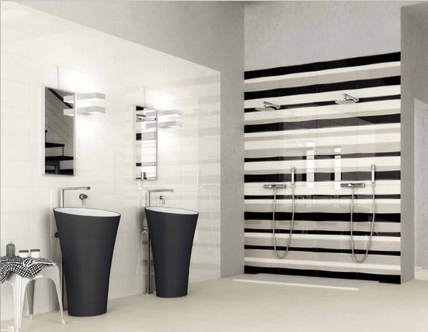 New tile trends play with pattern and geometry for Modern bathroom tile trends