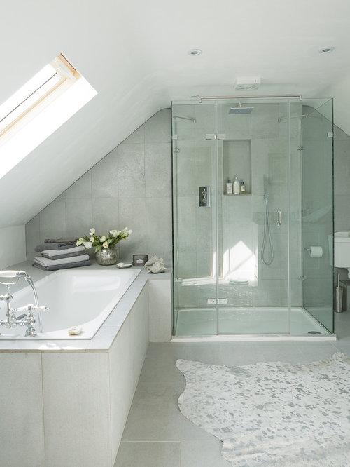 Blue cottage bathrooms - Attic Bathroom Home Design Ideas Pictures Remodel And Decor