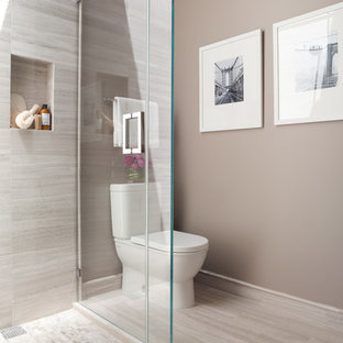 Trendy gray tile alcove shower photo in San Francisco with a two-piece toilet