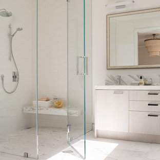 Alcove shower - contemporary white tile alcove shower idea in San Francisco with flat-panel cabinets and white cabinets