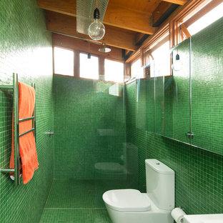Diseño de cuarto de baño con ducha, urbano, con sanitario de dos piezas y baldosas y/o azulejos verdes