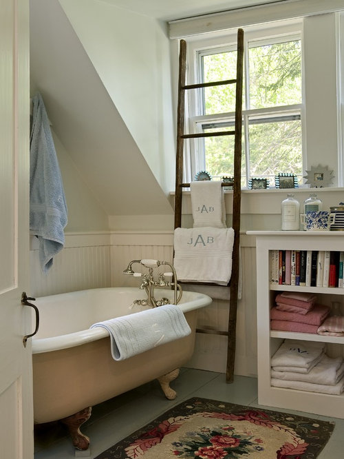 Traditional Claw Foot Bathtub Idea In Burlington With Open Cabinets