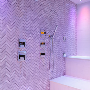 Inspiration for an expansive traditional wet room bathroom in Chicago with multi-coloured tile, porcelain tile, porcelain floors, with a sauna, a hinged shower door, multi-coloured walls and white floor.