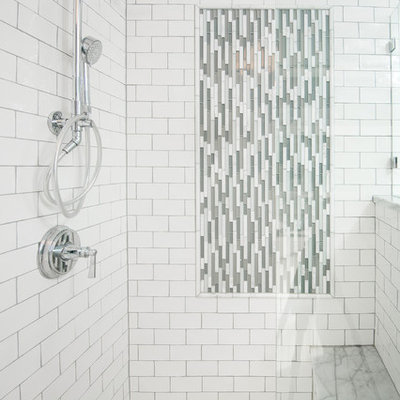 Small arts and crafts multicolored tile doorless shower photo in Other with white cabinets and gray walls