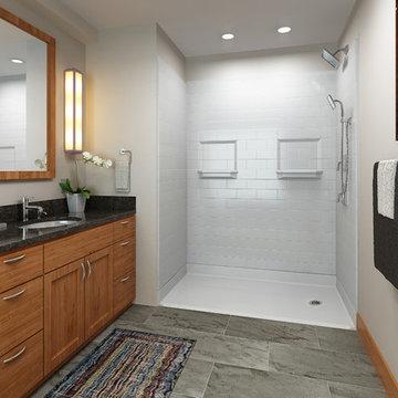 Craftsman Bathrooms walk in shower barrier free shower craftsman shower