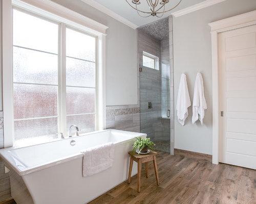 Landhausstil badezimmer mit zementfliesen ideen design bilder houzz - Zementfliesen dusche ...