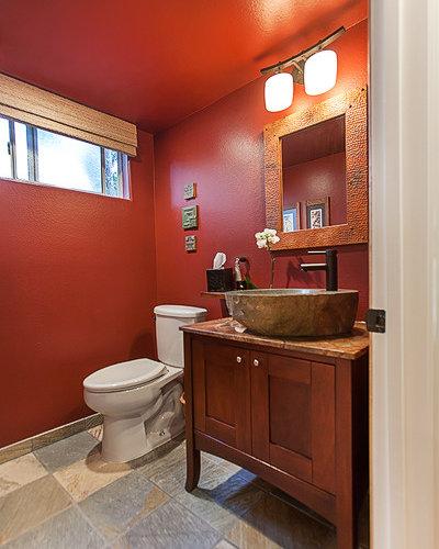 Houzz craftsman bathroom with red walls design ideas for Craftsman bathroom design