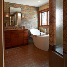 Rustic Bathroom by White Crane Construction