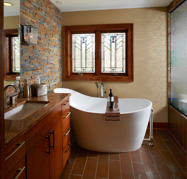 Rustic Bathroom by White Crane Construction