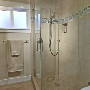 Small arts and crafts master beige tile and porcelain tile porcelain tile corner shower photo in San Francisco with a one-piece toilet and beige walls