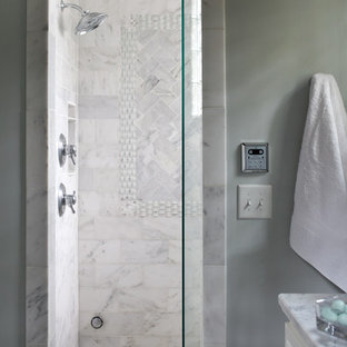 Sauna - mid-sized traditional white tile marble floor sauna idea in Atlanta with an undermount sink, shaker cabinets, white cabinets, marble countertops, a two-piece toilet and blue walls